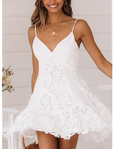 hesapli Mini Elbiseler-Kadın's Temel A Şekilli Elbise - Solid, Dantel Askılı Diz üstü / Dışarı Çıkma