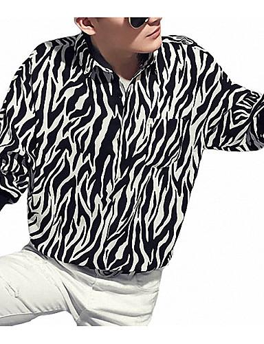 voordelige Herenoverhemden-Heren Street chic / Elegant Print Overhemd Geometrisch / Luipaard Wit