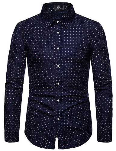 voordelige Herenoverhemden-Heren Standaard Grote maten - bodysuit Polka dot Marineblauw / Lange mouw
