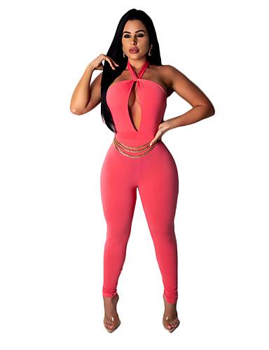 abordables Hauts pour Femmes-Femme Bohème / Chic de Rue Orange Rouge Bleu royal Combinaison-pantalon, Couleur Pleine Croisé / Mosaïque / Cordon L XL XXL