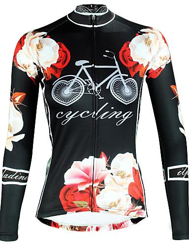 hesapli Bisiklet Formaları-ILPALADINO Kadın's Uzun Kollu Bisiklet Forması Siyah Çiçek / Botanik Bisiklet Üstler Nefes Alabilir Hızlı Kuruma Ultravioleye Karşı Dayanıklı Spor Dalları Kış Elastane Dağ Bisikletçiliği Yol