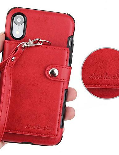 מגן עבור Apple iPhone XS / iPhone XR / iPhone XS Max ארנק / מחזיק כרטיסים / עם מעמד כיסוי אחורי אחיד קשיח עור PU