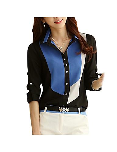 billige Dametopper-Skjortekrage Skjorte Dame - Fargeblokk, Lapper Arbeid / Strand Svart / Sommer