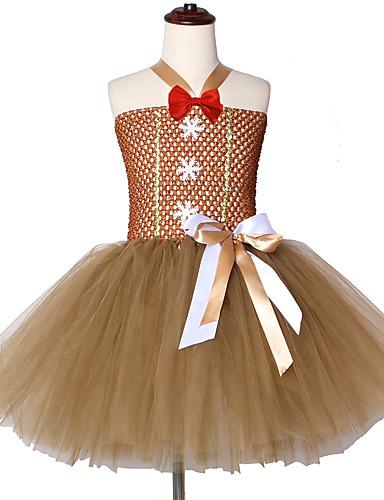 שמלה עד הברך ללא שרוולים רשת טלאים מתוק / סגנון חמוד בנות ילדים / פעוטות