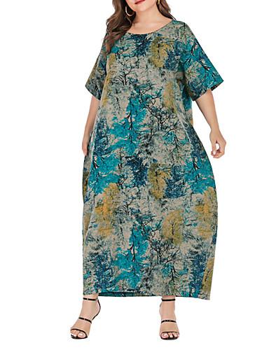 preiswerte Übergrössen-Damen-Damen Boho Chinoiserie Etuikleid Kleid - Druck, Einfarbig Maxi