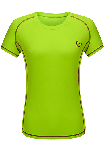cheap Outdoor Clothing-Women's Solid Color Hiking Tee shirt Short Sleeve Outdoor Breathable Quick Dry Stretchy Comfortable Tee / T-shirt Summer POLY Fuchsia Light Blue Light Green Camping / Hiking / Caving Traveling