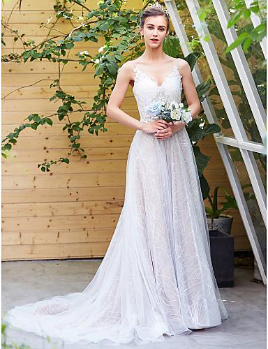 billige Bryllupskjoler 2019-A-linje V-hals Kapellslep Blonder Made-To-Measure Brudekjoler med Perlearbeid / Blonder av LAN TING BRIDE®