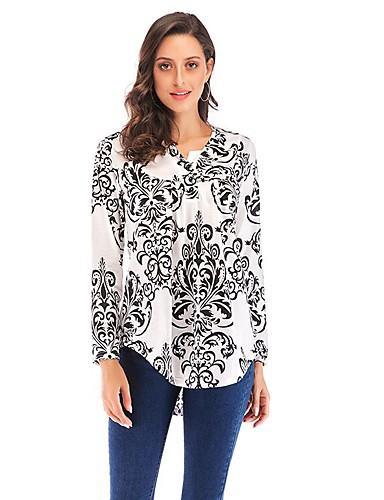 billige Topper til damer-T-skjorte Dame - Geometrisk / Tribal Blå US4