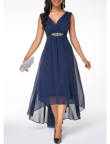 cheap Women's Dresses-Women's Sheath Dress - Solid Colored Navy Blue L XL XXL
