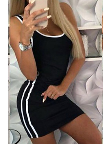 abordables Robes Femme-Femme Basique Elégant Mini Moulante Robe - Mosaïque, Couleur Pleine Noir M L XL Sans Manches
