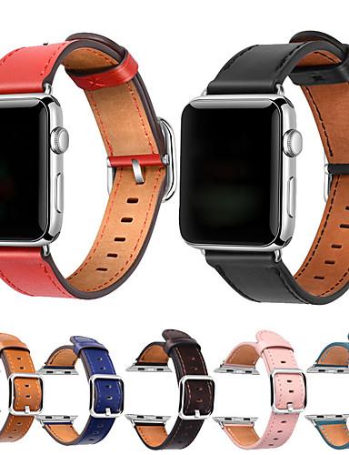 צפו בנד ל סדרת Apple Watch 5/4/3/2/1 Apple אבזם קלאסי עור אמיתי רצועת יד לספורט