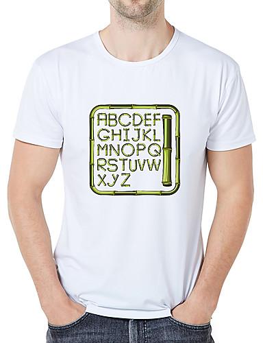 Herre - Grafisk / Tegneserie / Bogstaver Trykt mønster Vintage / Elegant T-shirt Hvid US42