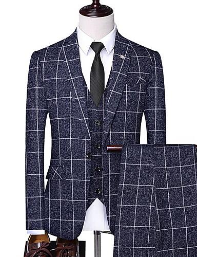 voordelige Herenblazers & kostuums-Heren Pakken, Ruitjes Ingesneden revers Polyester Zwart / Marineblauw / Beige