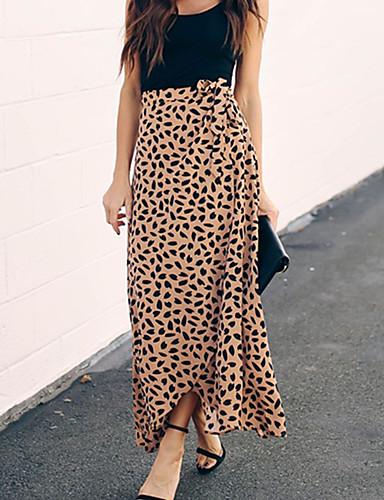 נמר - חצאיות מקסי נדנדה בוהו בגדי ריקוד נשים שחור יין חאקי L XL XXL