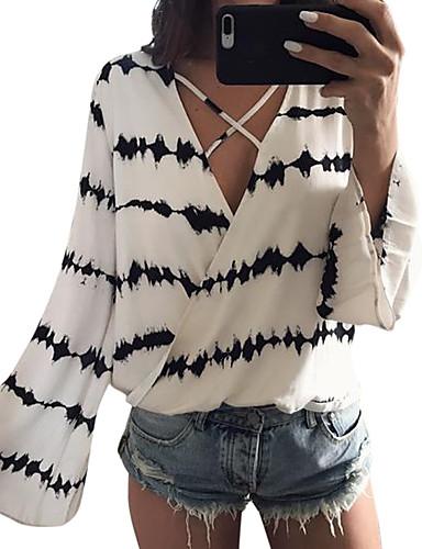 זול חולצה-פסים חולצה - בגדי ריקוד נשים לבן US4