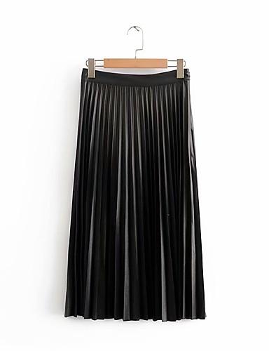 abordables Jupes-Femme Chic de Rue Sophistiqué Balançoire Jupes - Couleur Pleine Plissé / Mosaïque Noir XS S M / Ample