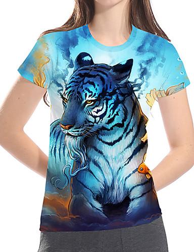 abordables Hauts pour Femme-Tee-shirt Grandes Tailles Femme, 3D / Graphique / Animal Imprimé Basique / Exagéré Ample Bleu clair