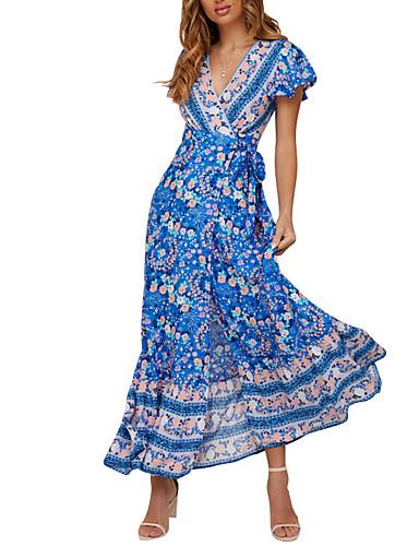 Kadın's A Şekilli Elbise - Geometrik Maksi