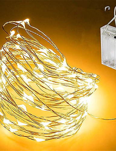 povoljno Rasvjeta-5m Žice sa svjetlima 50 LED diode SMD 0603 Toplo bijelo / Bijela / Više boja Vodootporno / Party / Ukrasno Baterije su pogonjene 1pc