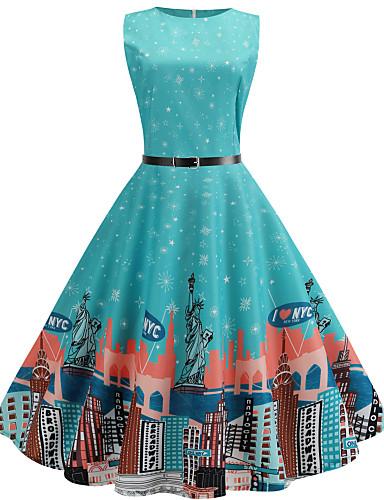 billige Kjoler-Dame Vintage Gatemote Chiffon Kjole - Blomstret, Trykt mønster Midi Sommerfugl