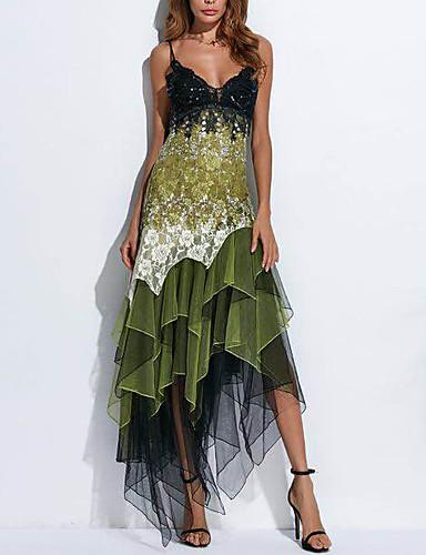 abordables Vestidos de Mujer-Mujer Elegante Encaje Vaina Vestido - Estampado, Geométrico Asimétrico Con Tirantes