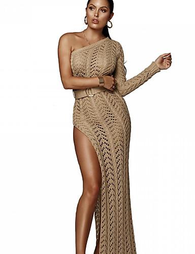 Kadın's Zarif Örgü İşi Elbise - Solid, Şalter Maksi