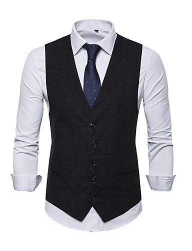 voordelige Herenblazers & kostuums-Heren Vest, Effen V-hals Polyester blauw / Zwart / Rood