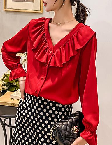 billige Topper til damer-V-hals Skjorte Dame - Ensfarget, Drapering / Lapper Grunnleggende Hvit