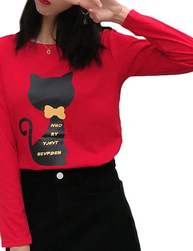 abordables Hauts pour Femmes-Tee-shirt Grandes Tailles Femme, Animal - Coton Basique Chat Noir