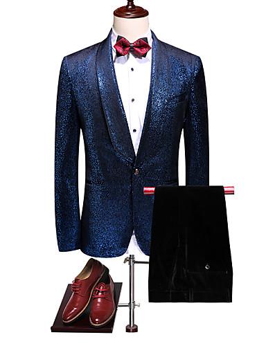 voordelige Heren T-shirts & tanktops-Heren Pakken, Effen Ingesneden revers / Sjaalrevers Polyester blauw / Slank