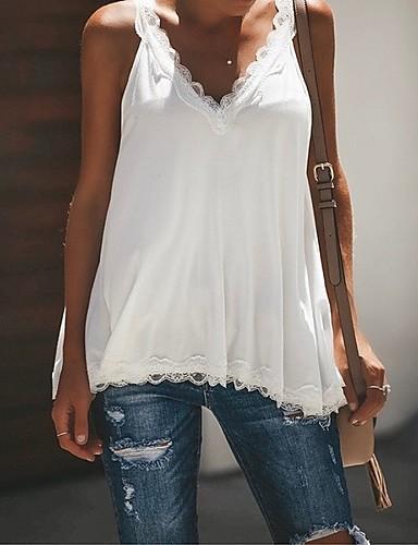 povoljno Ženske majice-Veći konfekcijski brojevi Potkošulja Žene - Osnovni Dnevni Nosite / Plus veličine Jednobojni V izrez Širok kroj, Čipka Sive boje
