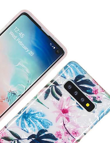 Pouzdro Uyumluluk Samsung Galaxy Galaxy S10 / Galaxy S10 Plus / Galaxy S10 E IMD / Temalı Arka Kapak Çiçek / Mermer TPU