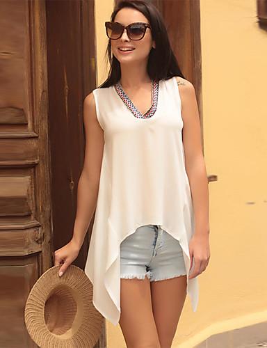 abordables Hauts pour Femme-Tee-shirt Femme, Couleur Pleine Bretelles Croisées Basique Col en V Ample Noir