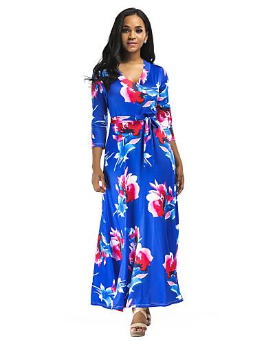 Kadın's Zarif Çan Elbise - Solid, Desen Maksi