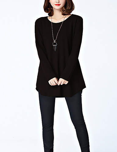 abordables Hauts pour Femme-Tee-shirt Femme, Couleur Pleine Mosaïque Sortie Chic de Rue / Elégant Ample Noir & rouge / Gris-noir Noir