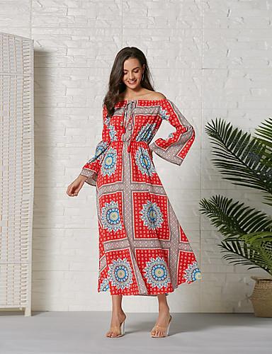 Kadın's Temel Kılıf Çan Elbise - Geometrik Zıt Renkli, Dantelli Bölünmüş Kırk Yama Maksi Kırmızı