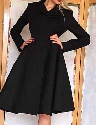 저렴한 여성용 의류-여성용 우아함 A 라인 드레스 - 솔리드 무릎길이