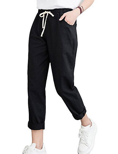Kadın's Temel Chinos Pantolon - Solid Siyah Beyaz Turuncu S M L
