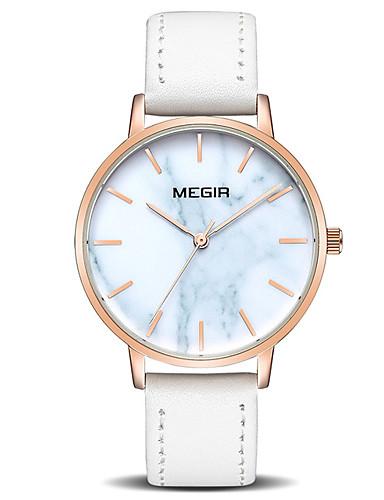 MEGIR Kadın's Quartz Moda Beyaz Mavi Kahverengi PU Deri Çince Quartz Beyaz Kahverengi Sevimli 30 m 1 parça Analog Bir yıl Pil Ömrü