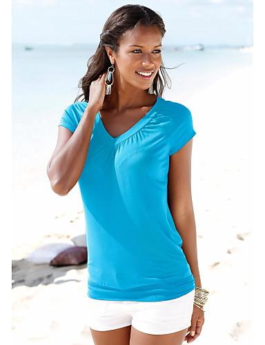 abordables Hauts pour Femmes-Tee-shirt Femme, Couleur Pleine Plissé Basique Col en V Rouge