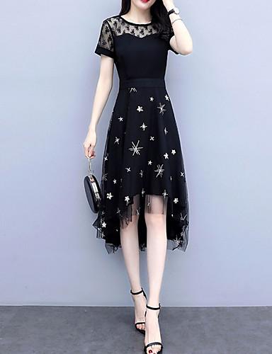 Kadın's Temel A Şekilli Elbise - Yuvarlak Noktalı Asimetrik