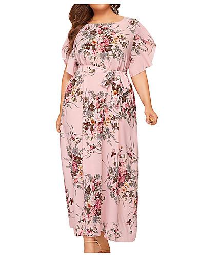 voordelige Grote maten jurken-Dames Vintage Chiffon Jurk - Bloemen, Ruche Veters Print Midi