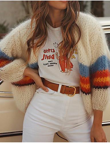 Kadın's Zıt Renkli Uzun Kollu Hırka, V Yaka Beyaz S / M / L