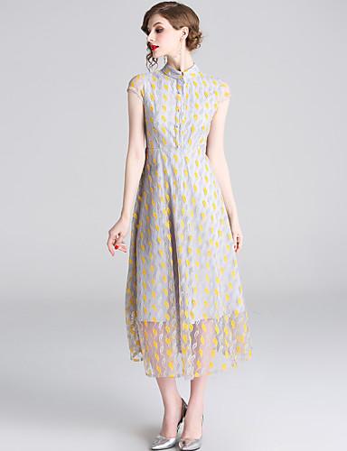 abordables Robes Femme-Femme Elégant Midi Balançoire Robe - Dentelle Mosaïque, Géométrique Jaune L XL XXL Manches Courtes