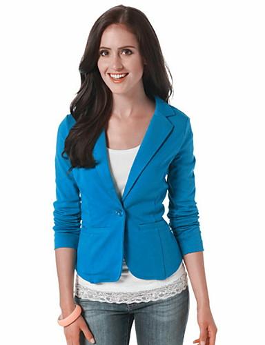 billige Ytterklær til damer-Dame Blazer, Ensfarget Skjortekrage Polyester Lysegrønn / Fuksia / Lyseblå