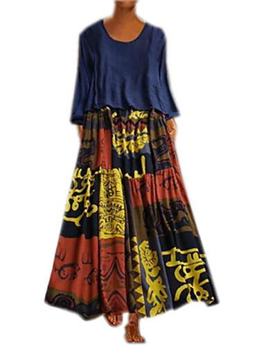 abordables Robes Femme-Femme Maxi Deux Pièces Robe Géométrique Rouge Jaune Bleu Marine S M L Manches Longues