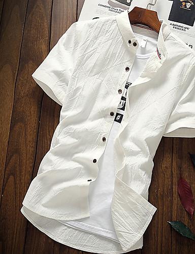 voordelige Herenoverhemden-Heren Standaard Patchwork Overhemd Effen / Blokken Grijs / Korte mouw