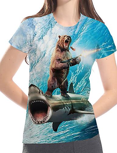 billige Topper til damer-T-skjorte Dame - Geometrisk / 3D / Dyr, Trykt mønster Grunnleggende / overdrevet Lyseblå US14 / UK18 / EU46