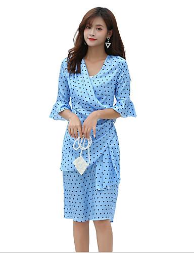 hesapli Vintage Kraliçesi-Kadın's Vintage Flare Kol Kılıf Elbise - Yuvarlak Noktalı, Büzgülü Desen V Yaka Diz-boyu