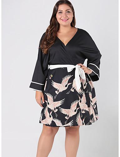 Kadın's Temel sofistike Kombinezon Elbise - Hayvan Diz üstü